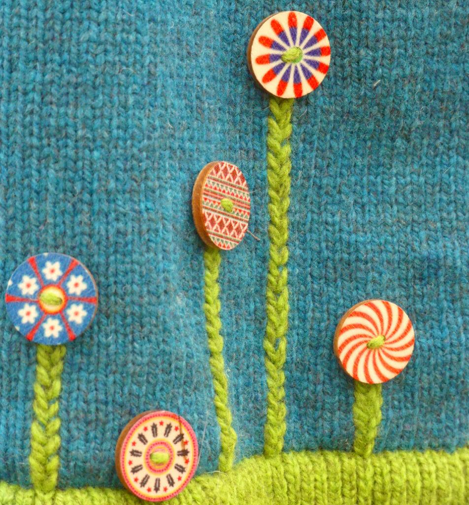 Détail boutons robe Fleur bleu